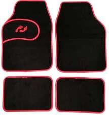 Universal Non-slip Carpet Foot Print Floor Well Car Mats Black & Red Boarder 4pc