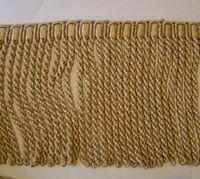 "7"" Bullion fringe Soft Gold Green Rust Red has Matched Braid and Key Tassel"