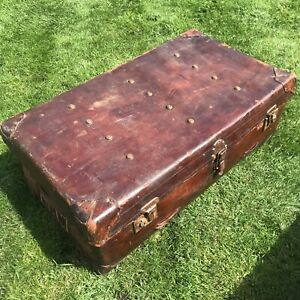 Antique Leather Steamer Trunk Travel Luggage 1st World War Military History 2/2