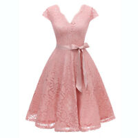 Women Vintage Floral Lace V Neck Cap Sleeve Fit and Flare Swing Dress with Belt