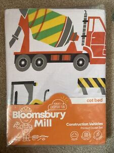 Brand New Cot Bed Cover - Construction Vehicles