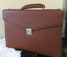 Armani Collezioni Men's Hard Side Pebbled Leather Attache Briefcase bag saddle