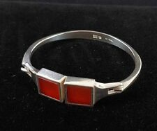 Danish silver bangle set with 2 square Cornelian stones and made by N.E.From