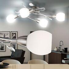 LUXE LED Plafond Chrome verre lampe décor feuilles de chambre à coucher à 4