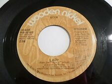 Styx Lady / Children Of The Land 45 1973 Wooden Nickel Vinyl Record