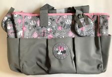 Diaper Bag + Bottle & Pacifier Tote Minnie Mouse Gray Pink Flowers New