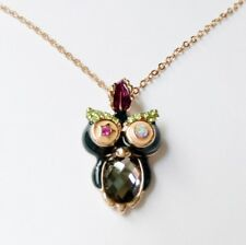 ROXI Perfect 18K RoseGold Crystal Diamond colorful Owl pendant Necklace SHIP USA