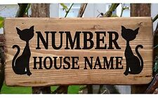 Cat House Door Sign Plate Plaque Personalised House Porch Conservatory Wooden