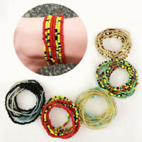 Multi-color Glass Beads Stretch Anklets Adjustable Ankle Chain Bracelet Jewelry