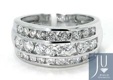 Mens Channel Set Round Diamond 12 MM Wedding Band Ring in 14K White Gold 2.50 Ct
