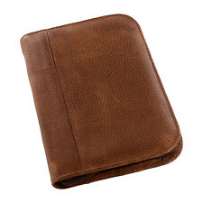 Aston New York Genuine Leather Collectors Zippered 10-Pen Case, Tan