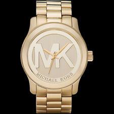 MICHAEL KORS Uhr MK5473 LOGO Oversized Damen Edelstahl Gold Armbanduhr Quarz NEU