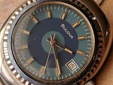 Vintage 1972 Bulova Bullseye Watch w/Blue Dial,Divers All SS Case,Runs Strong