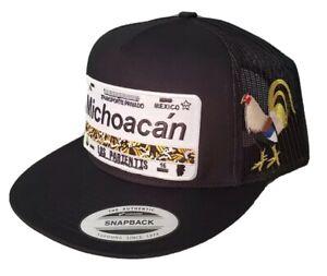 MICHOACAN PLACA HAT BLACK MESH SNAP BACK ADJUSTABLE  NEW.