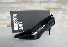 LOVE MOSCHINO Gr 36 Pumps Schuhe Stiletto Lackleder schwarz NEU ehem UVP 210 €