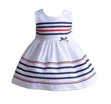 Cinda para niñas, color blanco algodón de rayas verano vestido fiesta 5-6 AÑOS