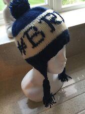 HAND Knitted Navy Cappello con orecchio-lembi -   BRRR  NUOVA 01177d52d635