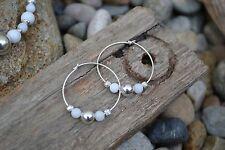 Handmade earrings with Sterling Silver & White Jade.