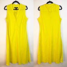 Ashley Stewart Dress Plus Size 16 Yellow Midi Linen Sleeveless Fit & Flare