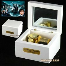 Square White Wood Wind Up Music Box  : PROLOGUE Harry Potter Hedwig's Theme Song
