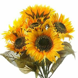 Factory Direct Craft Generous Sized Fall Yellow Artificial Sunflower Bushes