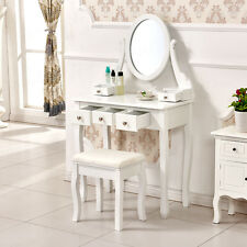 White Makeup Dressing Table 5 Drawers Desk With Stool & Oval Mirror Bedroom Chic