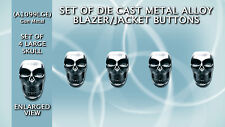 Set of Skull Shaped 3D Die Cast Metal Coat Buttons (A1099LGE-GM) 25mm in Height