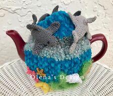 Crochet tea cozy cosy cover warmer Nautical shark reef underwater Marine kitchen