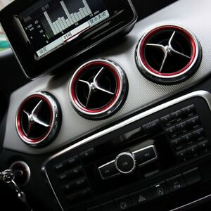 Mercedes Benz Air Vent Outlet Ring Cover Trim Red 5Pcs For A/B/CLA/GLA Class Set