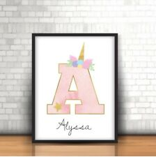 A4 Personalised Unicorn Print ANY Name & Initial Gift Pretty Pink Unicorn