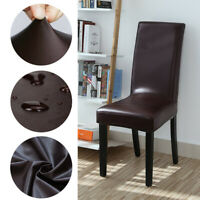 1/2/4/6/8Pcs PU Leather Stretch Dining Chair Covers Wedding Banquet Seat Cover