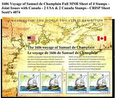 Voyage of Samuel de Champlain Complete Sheet of 4 MNH Scott's 4074 CRISP
