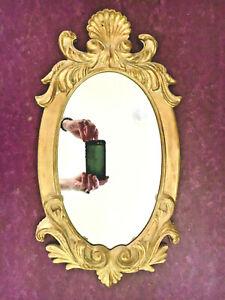 Vintage ORNATE GOLD PLASTER DECORATOR MIRROR Baroque Oval Wall Italian?