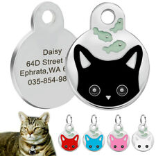 Cat Tags Engraved Stainless Steel Girl Cat Collar Tag Disc Disk Kitten Name Tags