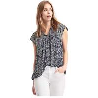 Gap Mix print split-neck blouse Navy Print Size Large Item #528018 J