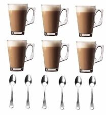 New Set Of 6 X 240ml Coffee Tall Glass, Café Latte Cappuccino & Latte Spoons