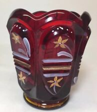 Fenton Art Glass Hand Painted Ruby Red Votive / Toothpick Holder