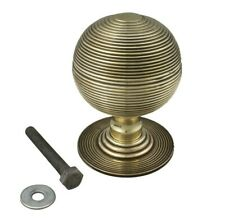 110mm Very Large Solid Antique Brass Beehive Centre Door Knob Pull Front Handle