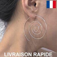 Boucle D'oreille Spirale Ronde Dorée Argentée Bijoux Femme Cadeau Anniversaire