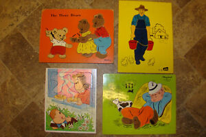 Lot Of 4 70's Vintage Childrens Wooden Puzzles Playskool Sifo (Little Lulu)