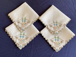 Vintage Set 4 Cream Linen Hand Embroidered Madeira Work Afternoon Tea Napkins