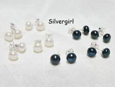 Shimmering White 7-8mm White Akoya Cultured Pearl Sterling Silver Stud Earrings