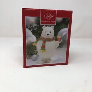 NIB Lenox Holiday Polar Bear Bobble Head Christmas Ornament Gift Collectible