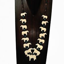 Hand Carved Pony Horse Fetish Necklace on Brown Heishe with Turquoise Accents