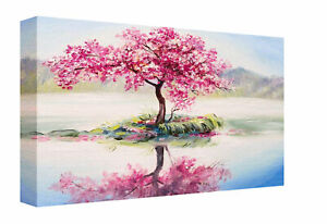 Cherry Blossom Tree Oil Painting Effect Canvas Print Wall Art Picture