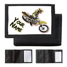 PERSONALISED YELLOW MOTOCROSS BIKE - BOYS / MANS WALLET / PURSE - NAMED GIFT