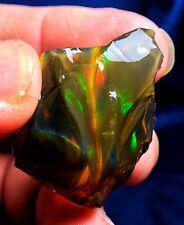 134.ct Natural Ethiopian Crystal Black Opal Rough Specimen Flash Colors