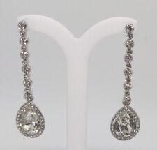 Formal Wedding Clear Crystal Long Rod Earrings