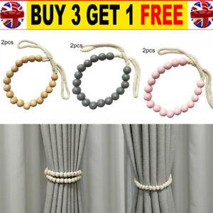 2pcs - Wooden Beads Curtain Tie Backs Buckle Clips Holdbacks Curtain Tie Rope *N