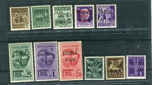 YUGOSLAVIA OCC. ISTRIA POLA 1945 lot of  11 stamps overp. ISTRA mnh